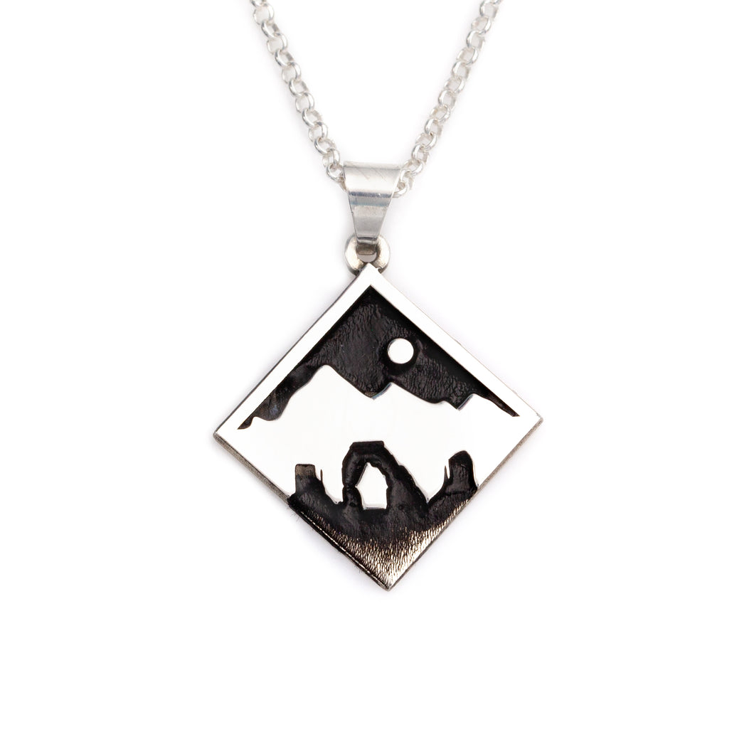 Utah Mountain Arch Necklace Embossed
