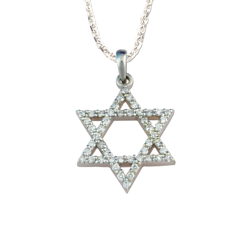 14K white gold star of david diamond pendant star jewelry jewish jewelry star necklace