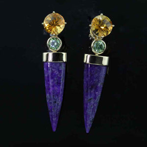 Sugalite Citrine Demantoid Earrings - 14K YG