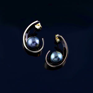 Tahitian Pearl Swoop Earrings 14K YG Tahitian pear;