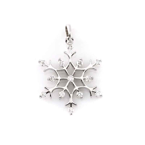 diamond gold snowflake pendant 14K WG diamonds