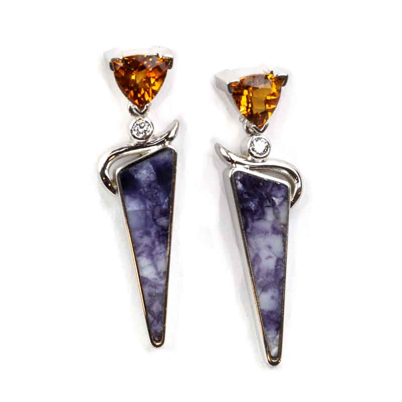 Tiffany stone inlay earrings with citrine and diamonds