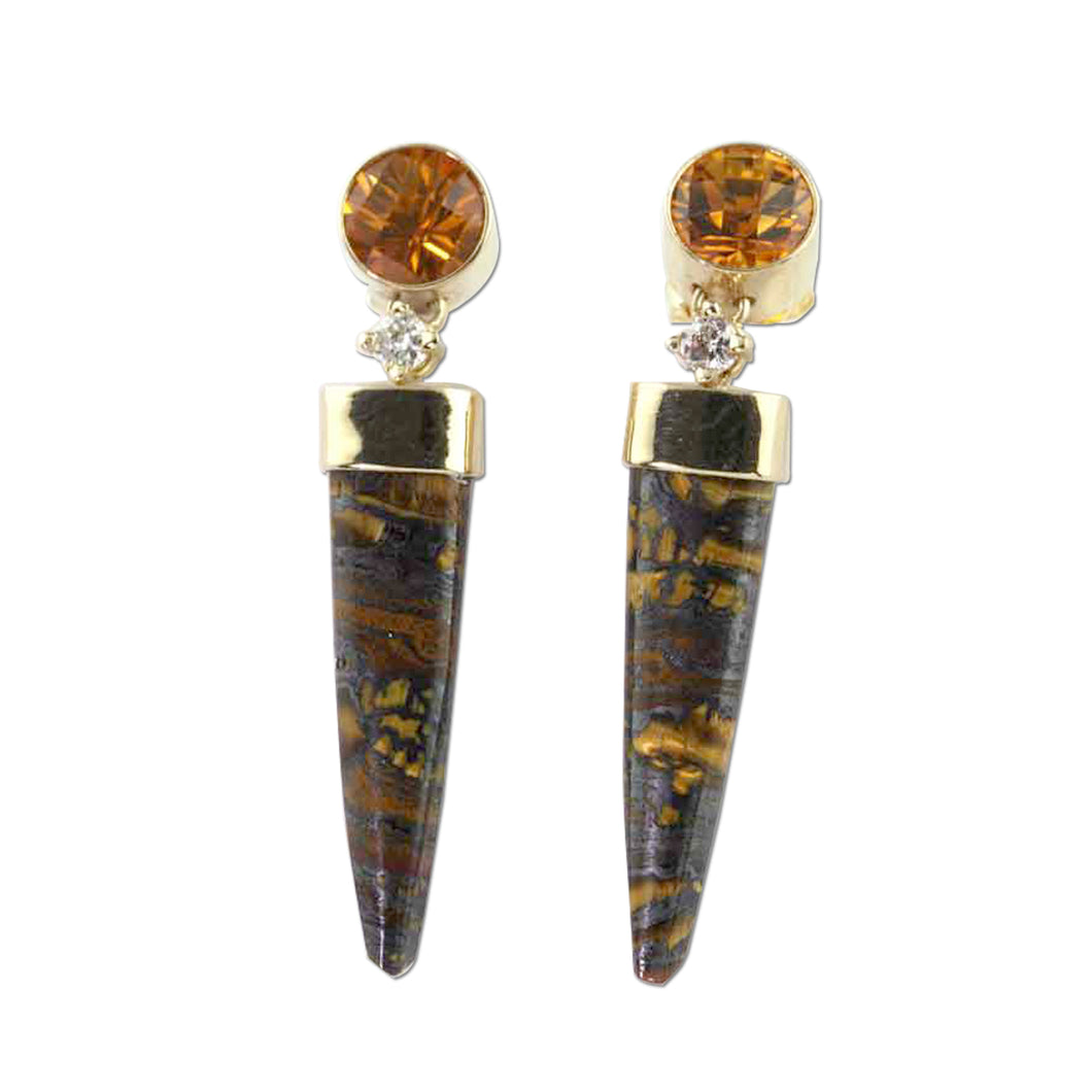 Tiger Iron Agate with citrine and diamond earrings 14K YG