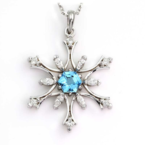 Diamond Snowflake Pendant with Blue Topaz or Amethyst - 14K WG