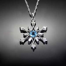Load image into Gallery viewer, Diamond Snowflake Pendant with Blue Topaz or Amethyst - 14K WG