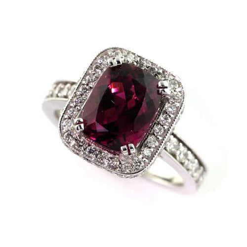 Violet Tourmaline Diamond Halo Ring 14K WG