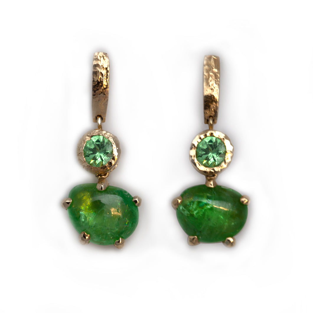 Merelani Mint Garnet and Emerald Earrings