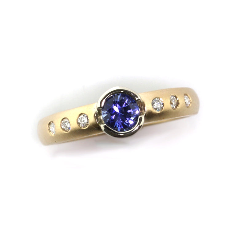 14K TT gold Sapphire and diamond ring