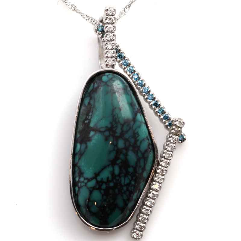 Turquoise blue white diamond custom pendant woodbury jewelers