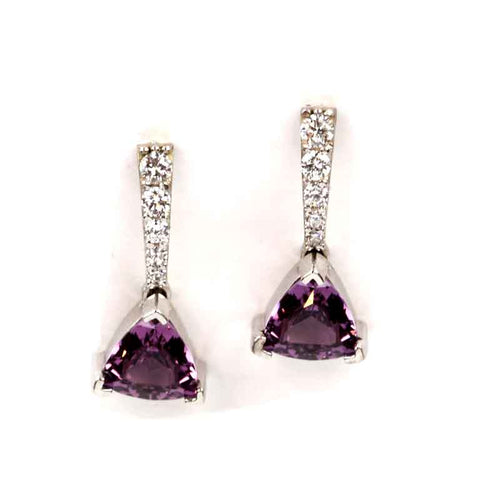 violet spinel diamond earrings stud earrings 14K WG
