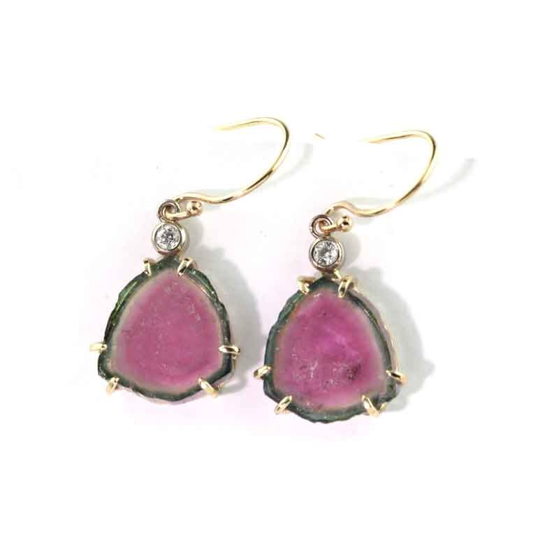 Watermelon Tourmaline Diamond Earrings - 14K YG