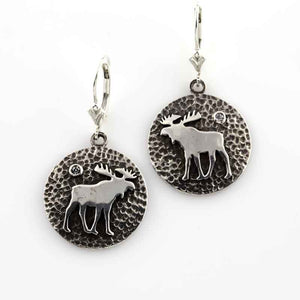 Moose Disk Earrings SS Sterling Silver with crystal