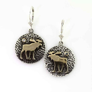 Moose disk earrings TT Sterling silver 10K YG with crystal