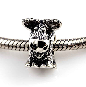 moose bracelet bead in sterling silver