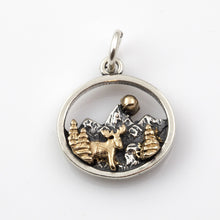 Load image into Gallery viewer, Mountain Scene with Moose Charm - Sterling Silver and 10K YG