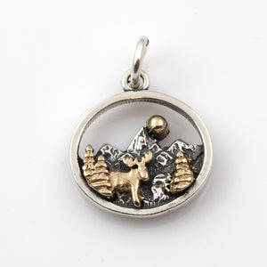 Mountain Scene with Moose Charm - Sterling Silver and 10K YG