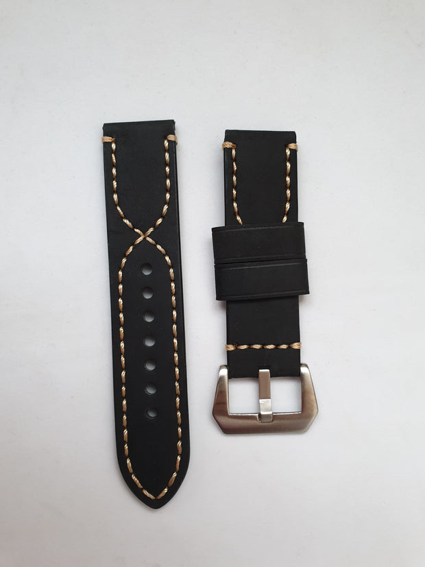 Strap. Black leather band.