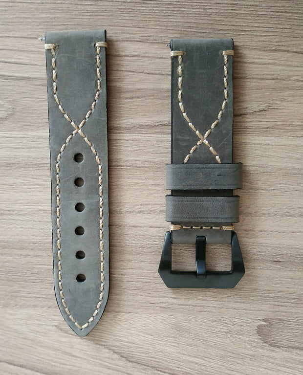 Strap. Vegetable tan leather band. Gray.