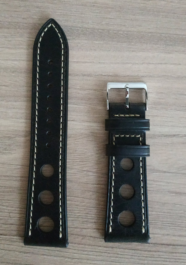 Strap. Leather black. Band. Quick release.