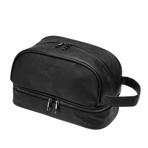 Premium features have been carefully considered throughout the design of this sleek black and spacious toiletry bag to provide for practicality and organisation and is a travel must have.   Features include:  High quality, sturdy, premium manufactured Water resistant with lined interior Grab-and-go handle Secure double zipper for full easy opening and closure Multiple separate compartments to keep valuables secure Travel friendly