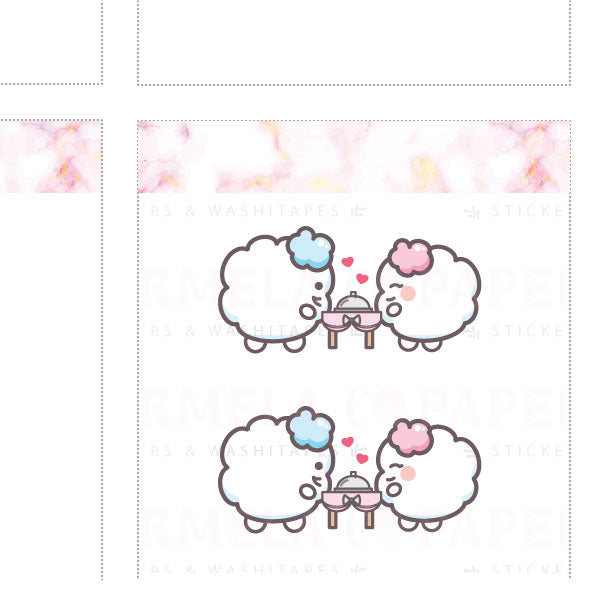 Dinner date ♡ Cotton Planner Stickers