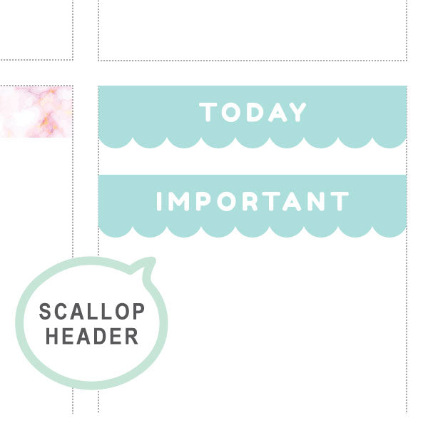 Lagoon Scallop Headers ♡ Functional Planner Stickers