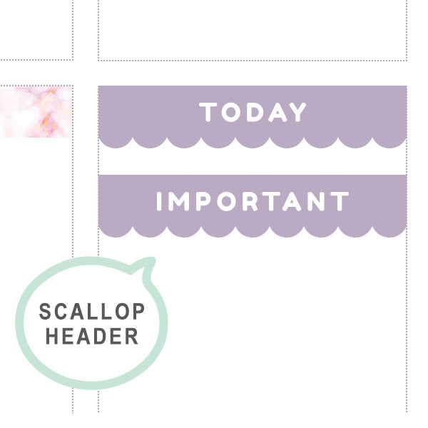 Lavender frost Scallop Headers ♡ Functional Planner Stickers