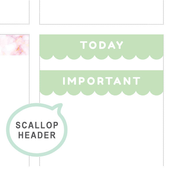 Mint Scallop Headers ♡ Functional Planner Stickers