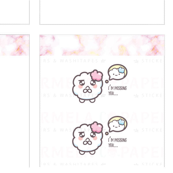Miss you ♡ Cotton Planner Stickers