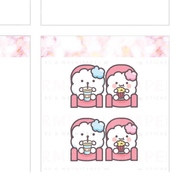 Movie Date ♡ Cotton Planner Stickers