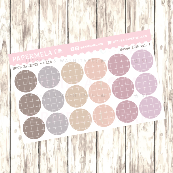 "Muted 2019 Vol. 1, Mood Palette [Grid] - 0.5"" diameter, 2 sheets"