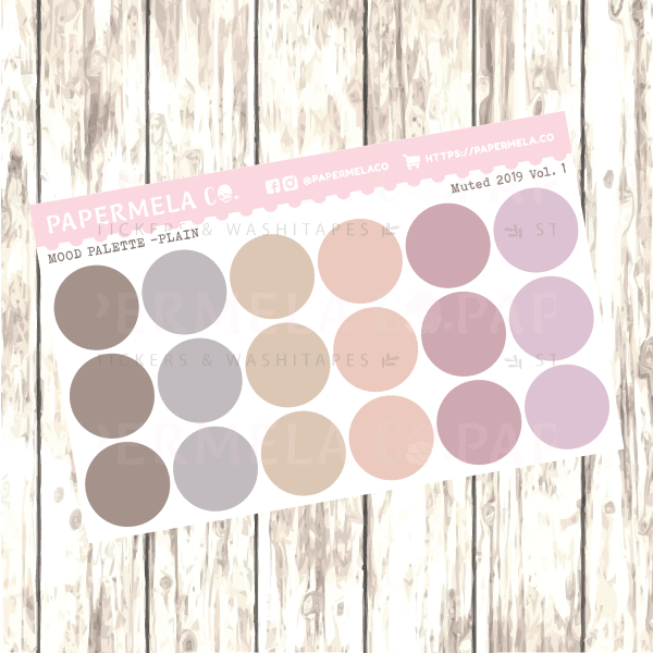 "Muted 2019 Vol. 1, Mood Palette [Plain] - 0.5"" diameter, 2 sheets"