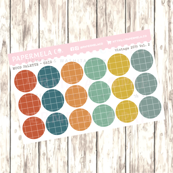 "Vintage 2019 Vol. 2, Mood Palette [Grid] - 0.5"" diameter, 2 sheets"