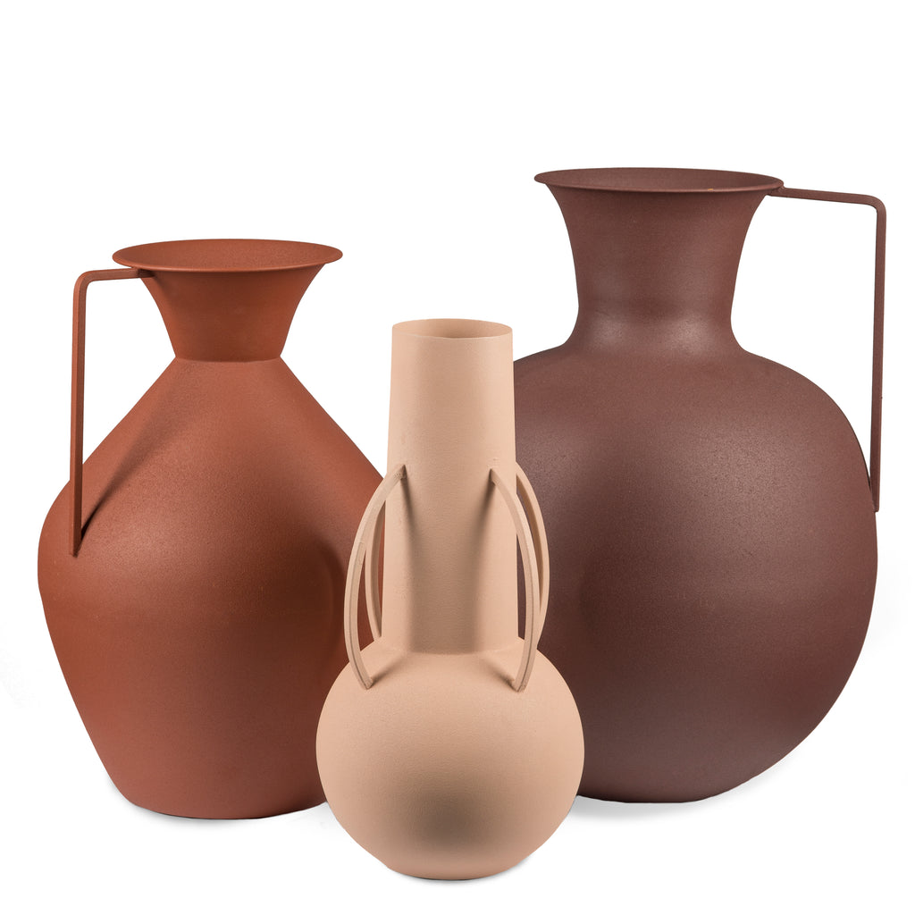 VASES ROMAN BROWN / SET DE 3