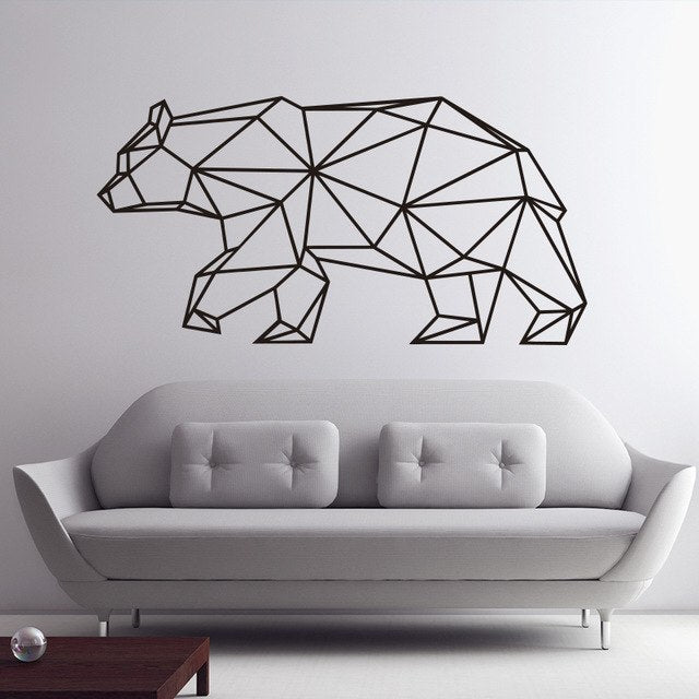 ... Origami Bear Wall Decal, Geometric Animals Home Decor, Removable Vinyl  Sticker ...