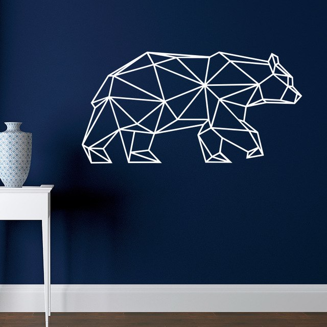 Origami Bear Wall Decal Geometric Animals Home Decor Removable