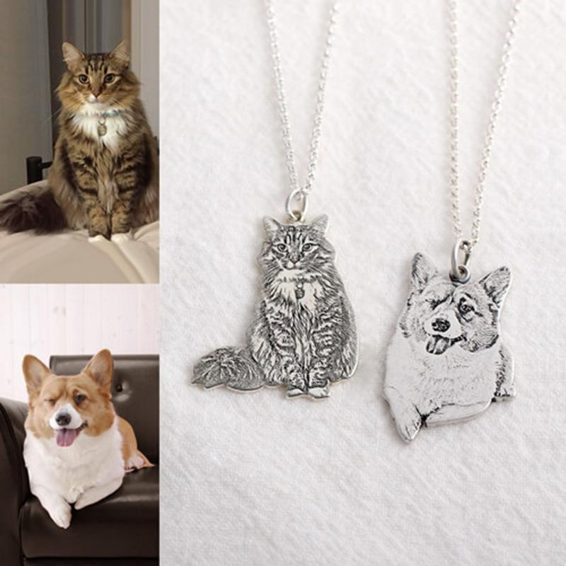 Pet Custom Engraved Photo Pendant Necklace and Key chain