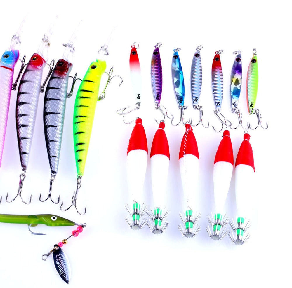 Incredible Mixed hard popper minnow bait squid jig metal lead spoon lure set 29Pieces