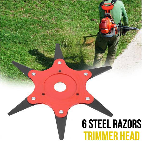 Outdoor Trimmer Head 6 Steel Blades Razors 65Mn Lawn Mower Grass Weed Cutter