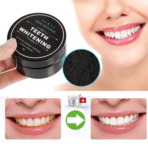 White teeth, charcoal activated bleaching NATURAL ORGANIC