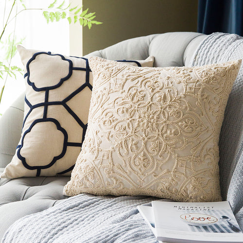 Embroidered White Cushion Cover