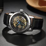 SEWOR Luxury High Class Men Wrist Watch Ultra Thin Male PU Leather Strap Hollow Out Design Mechanical Wrist Watch