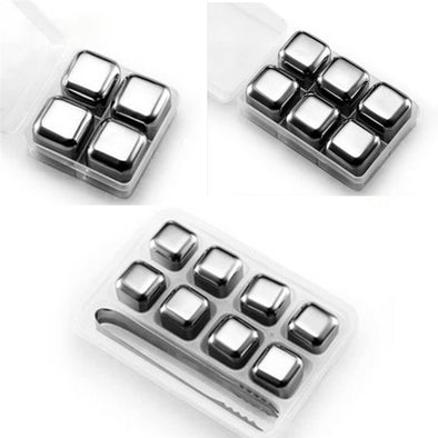 4 PCS Stainless Steel Cocktail Cubes - as.stop
