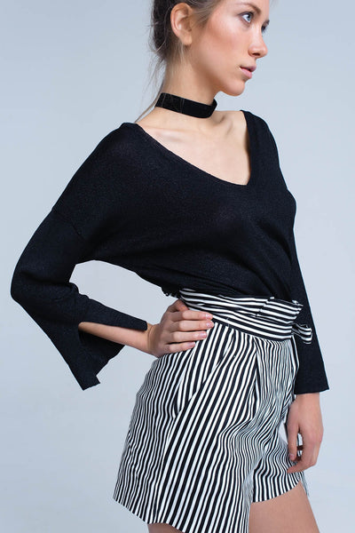 Black Knit Sweater With Gold Lurex Detail
