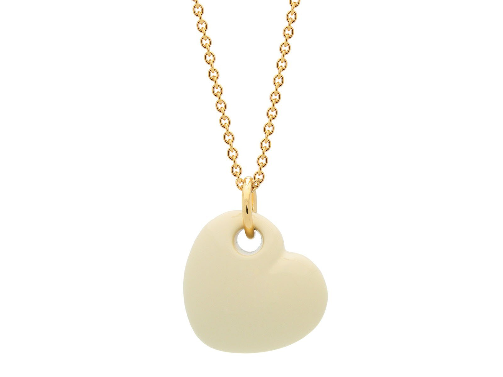 18K Gold Plated Cream Enamel Puffy Heart Necklace, 15 Inches