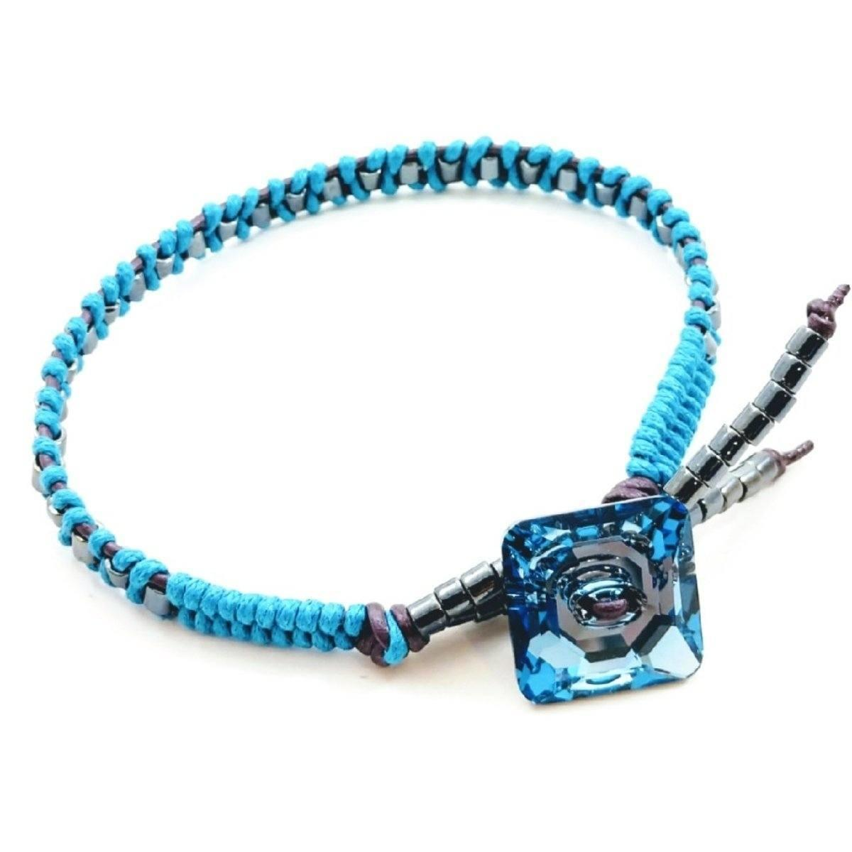 Aqua Hematite Bead Braided Square Swarovski Crystal Button Bracelet