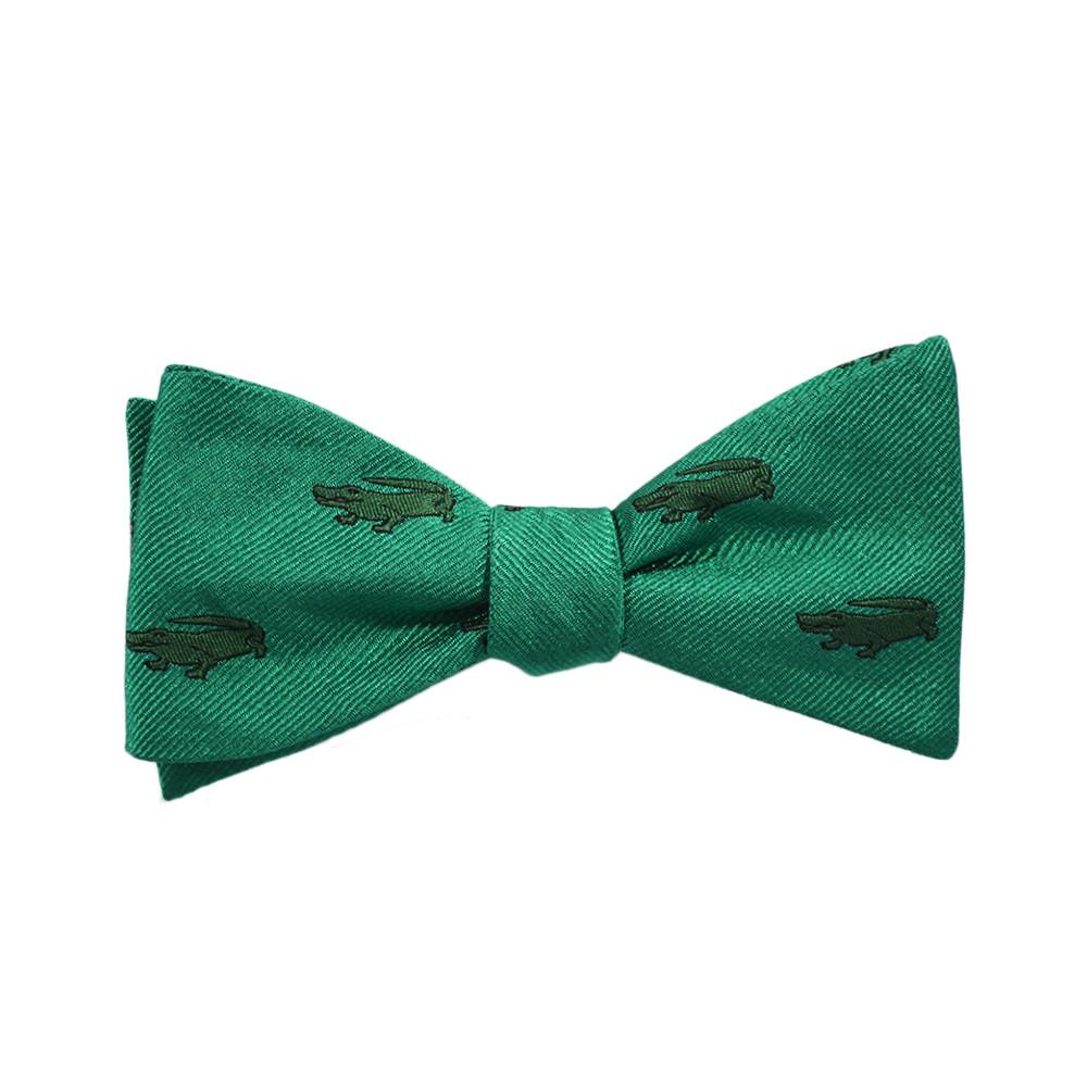 Alligator Bow Tie - Green, Woven Silk