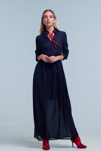 Maxi Dress Navy Chiffon Polka Dot