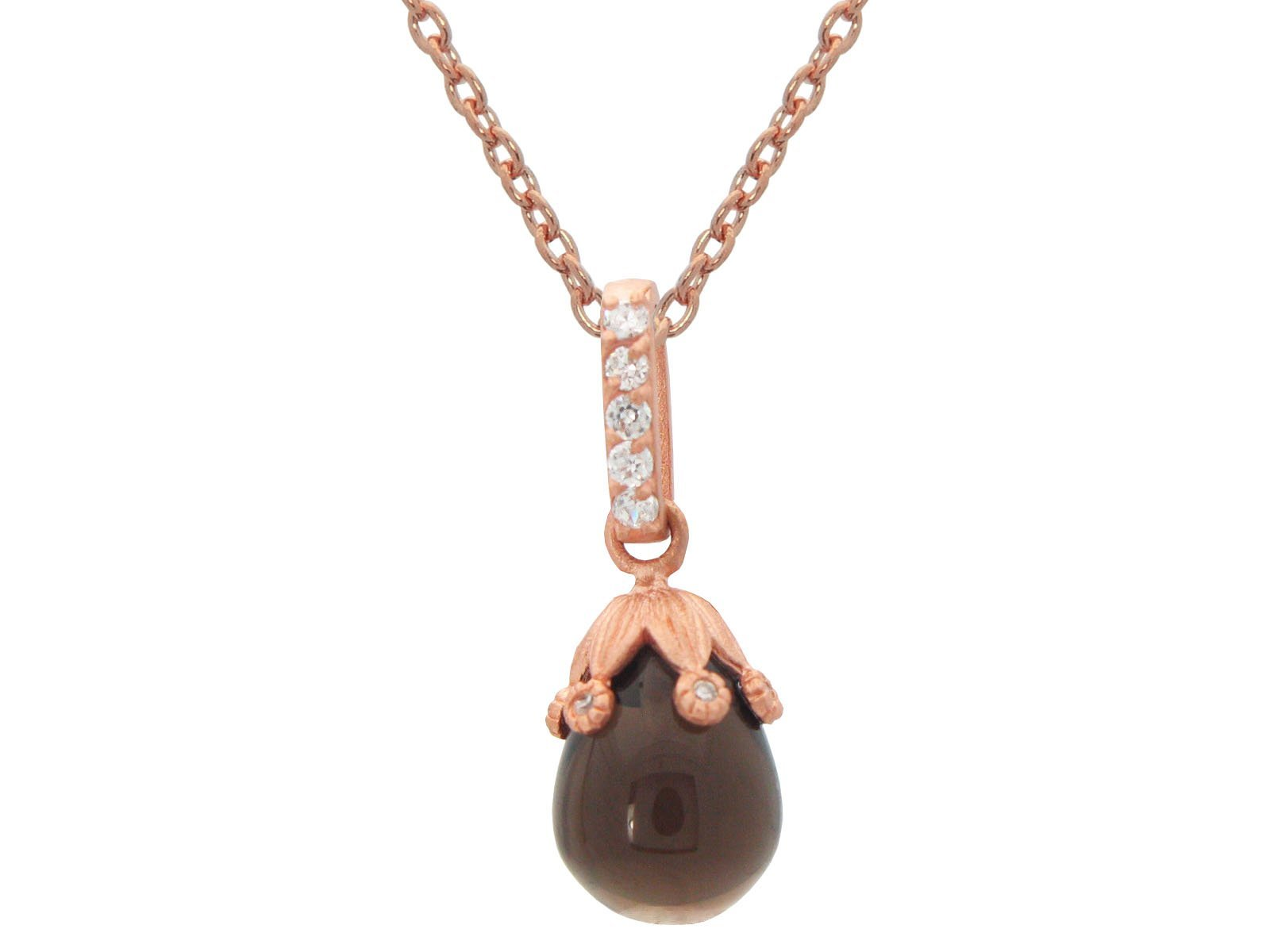 Black Flower Bulb Pendant Necklace In Rose Gold Plated Silver