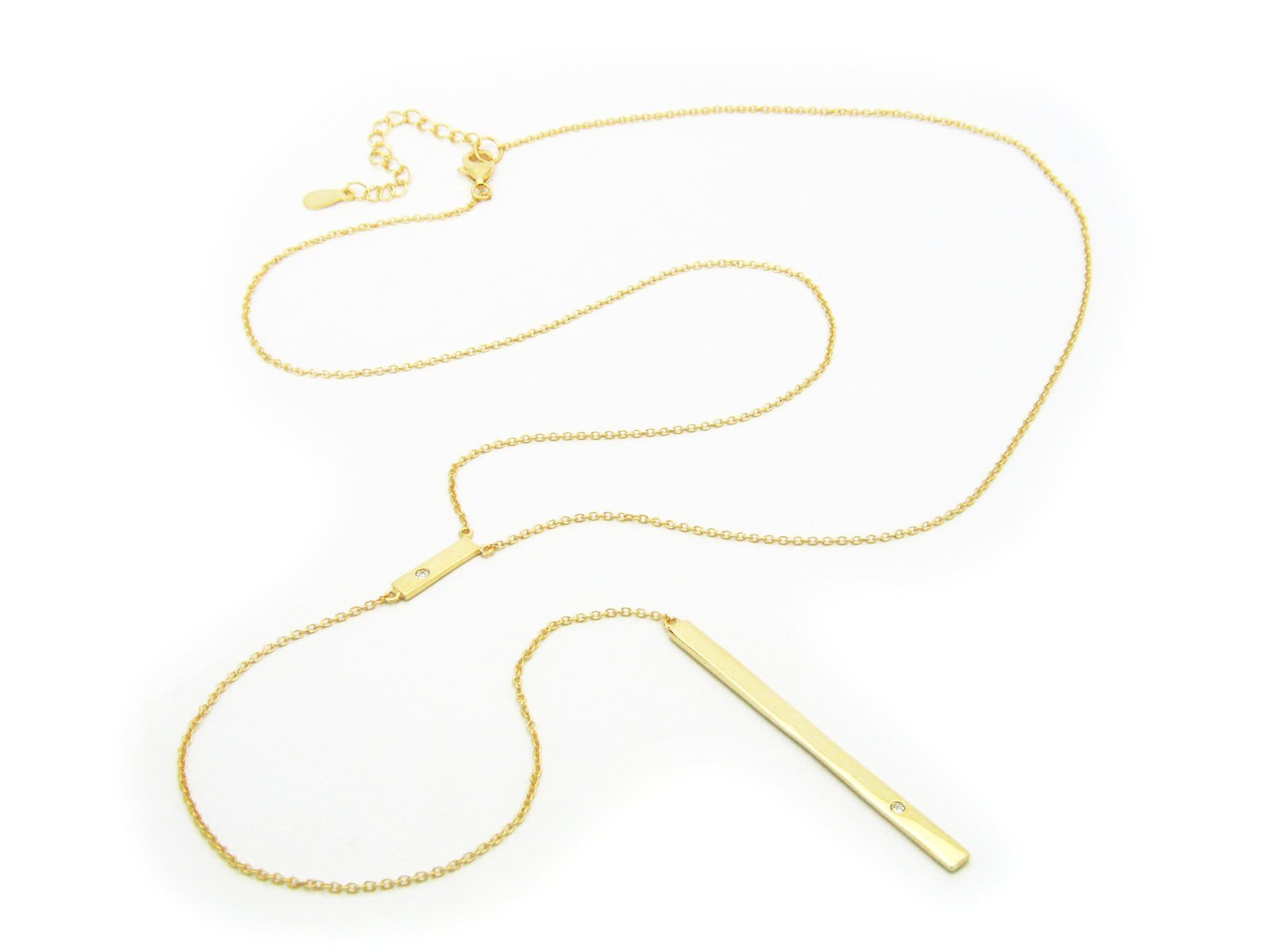 "18K Gold Plated Lariat Necklace Bar Pendant With 2 Sparkling Zirconia Stones 35"" Long Chain"
